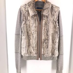 Burning Torch Grey Zippered Cashmere Blend Jacket
